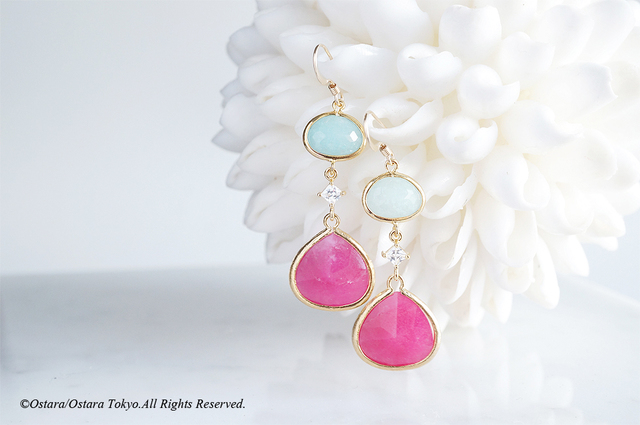 【Procida】14KGF Earrings(Fuchsia x P...