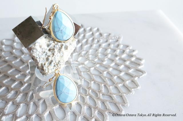 【14KGF】 Earrings,Simple Turquoise-B-
