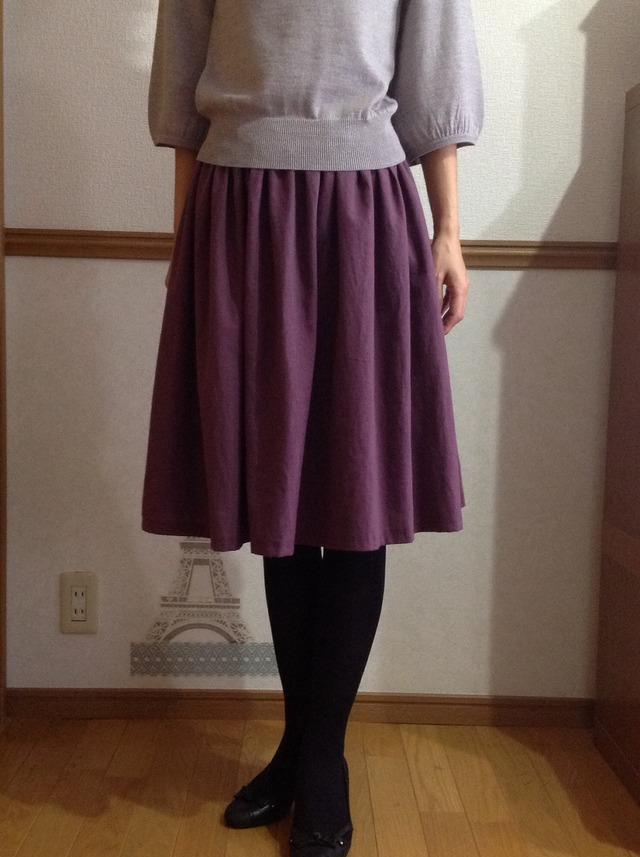 ハーフリネンのふんわりギャザースカート スモークパープル