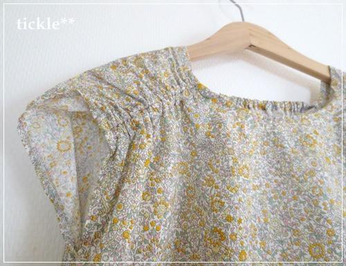 くしゅくしゅブラウス 黄色の小花模様*130サイズ