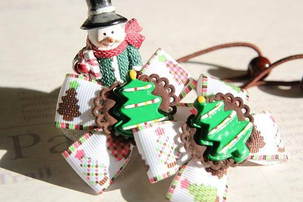 クリスマスのリボンヘアゴム☆A