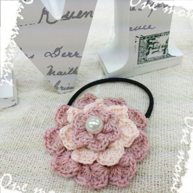 【ハピ☆デコロン】手編み花のヘアゴム...