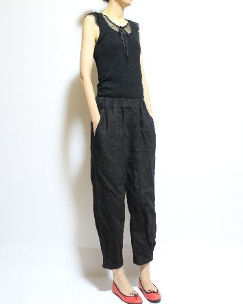 リネン裾タックパンツ ・ブラック