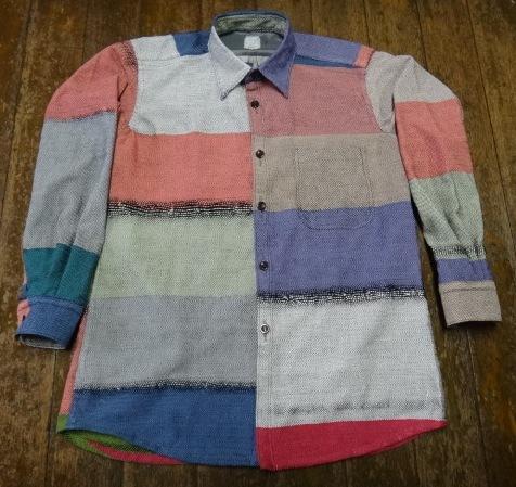 さをり織カラフルで素敵 メンズシャツ