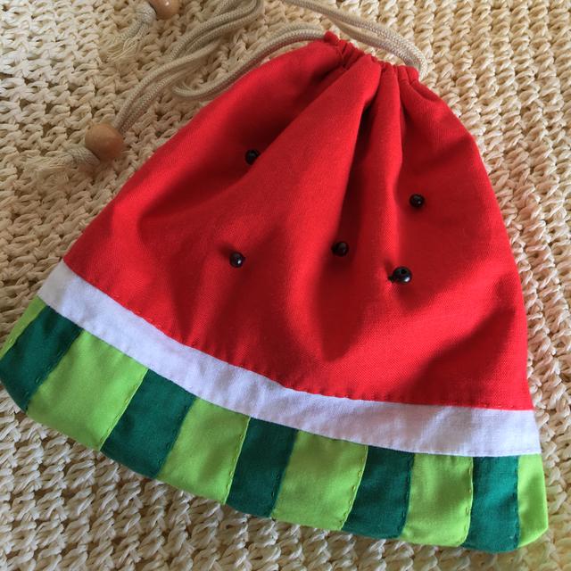 スイカの巾着(リバーシブル)