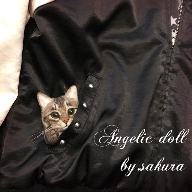 キジトラ ブローチ 羊毛フェルト 猫