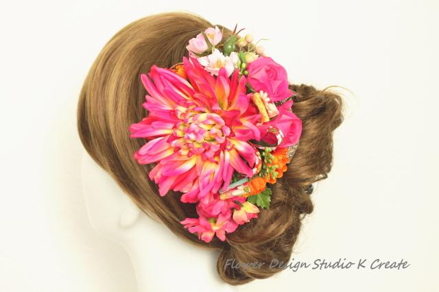 和装髪飾り?ピンクの和菊のヘッドドレス