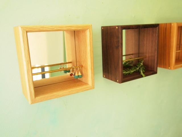 奥行のある鏡 壁掛け ジュエリーボックス