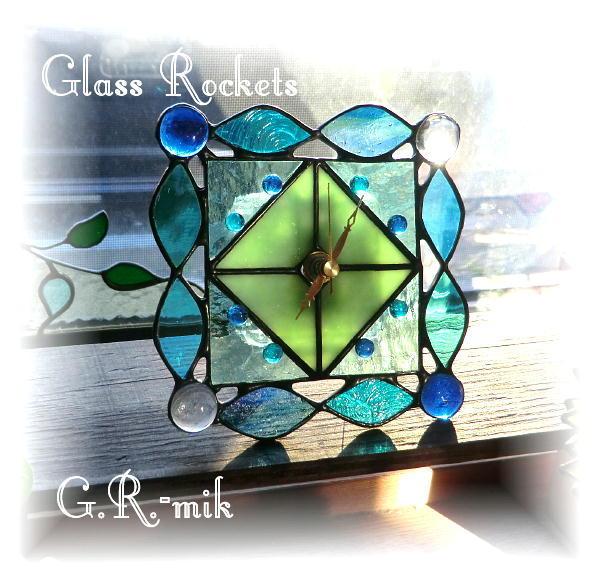 ★ステンドグラス 「キャンディウォッチ A」 置き 壁掛け 時計 ギフト(再販:受注制作)