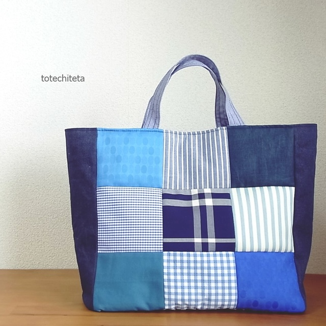 9 patch tote bag large size blue tone ハンドメイドマーケット minne