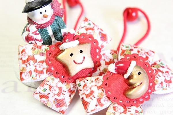 クリスマスのリボンヘアゴム☆E