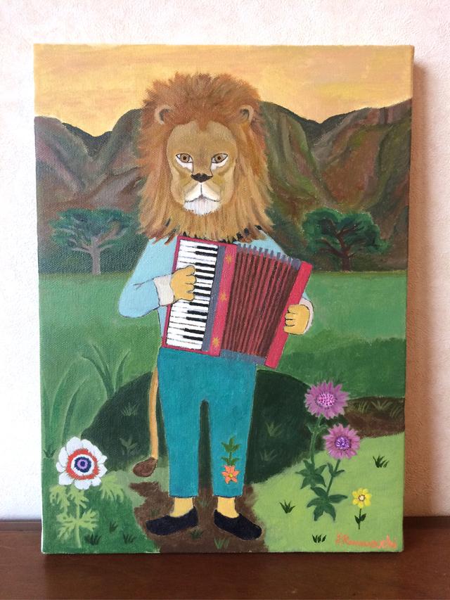 原画油絵「アコーディオンわ弾くライオン」