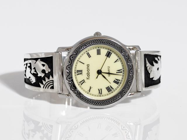 トラとサイのシルバー製腕時計・W005