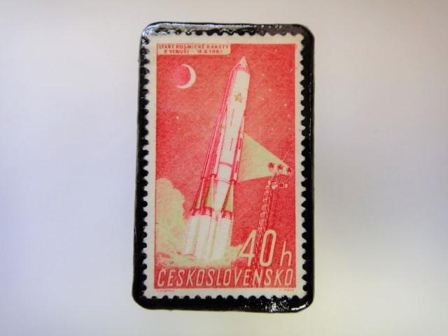 チェコスロバキア 宇宙切手ブローチ 2710