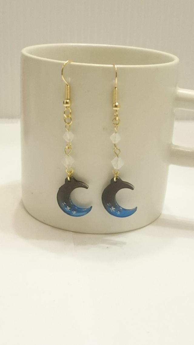 夜空と月のピアス(ブルーグラデーション)