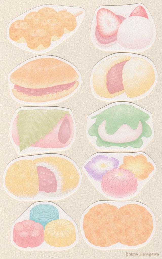 和菓子の形のカード