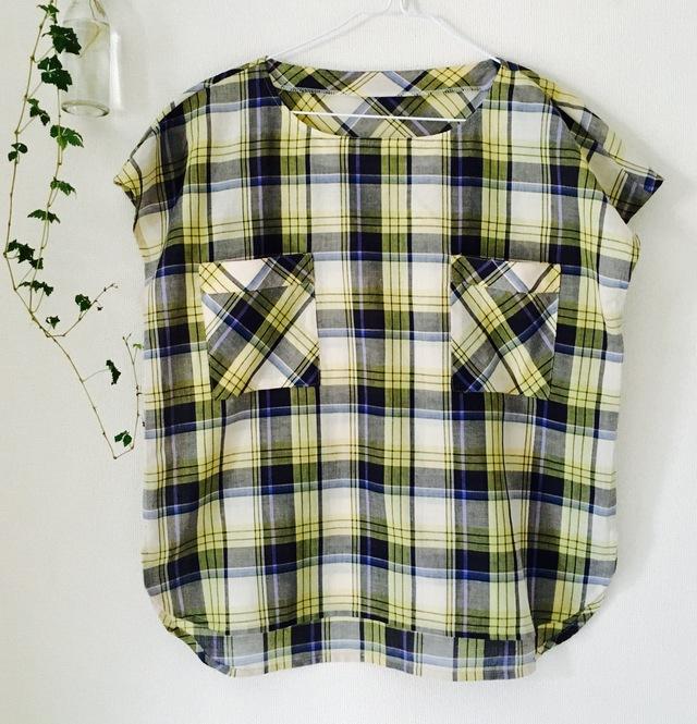 半袖チェックシャツ(ポケット付き)