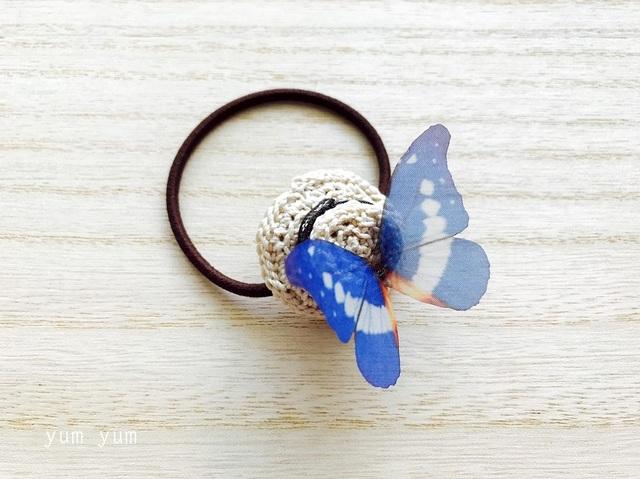 麦わら帽子と蝶々ヘアゴムB【茶リボン】