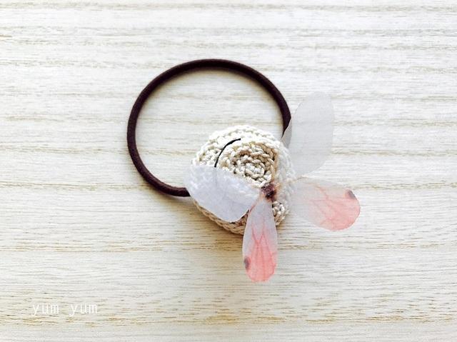 麦わら帽子と蝶々ヘアゴムC【茶リボン】