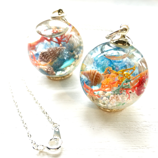 aquarium  海のネックレス    28mmガラス玉