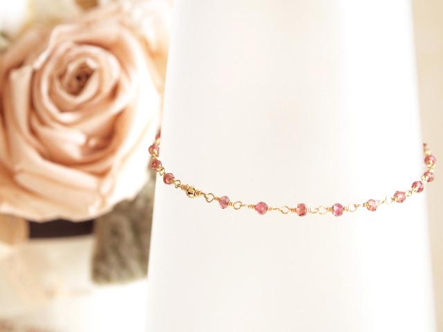 14KGF Garnet Bracelet