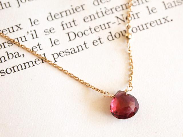 14KGF Garnet Necklace