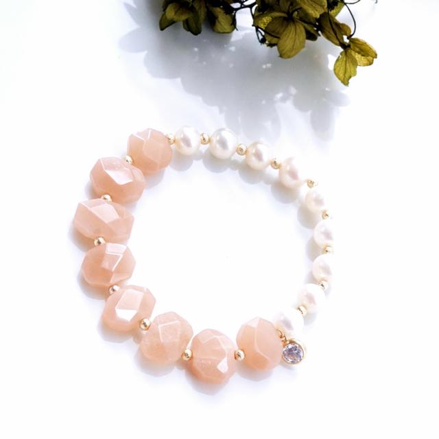 再販】真珠とオレンジムーンストーンの...