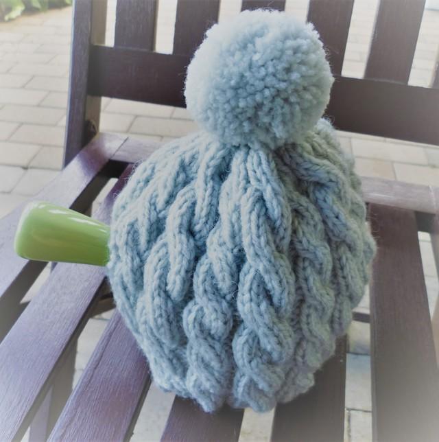 縄編みのティーコゼー(灰)Lサイズ