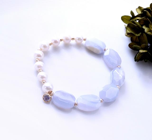 再販】真珠とブルーレースのブレスレッ...