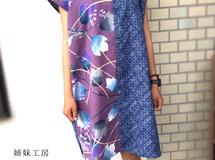 浴衣ワンピース*紫/着物リメイク