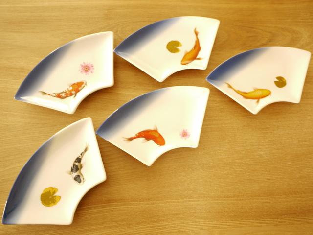 錦鯉の扇形プレート5枚セット