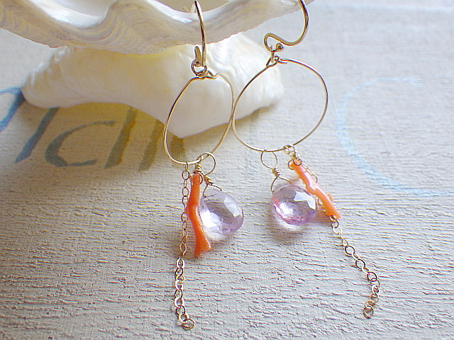 Sunset Pink Amethyst&Coral Earrings 1...