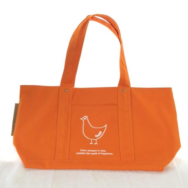 トリさんのオレンジトートバッグ