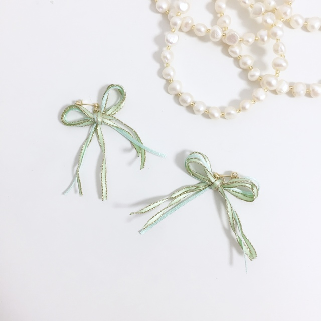 ribbon pierce/earring?green