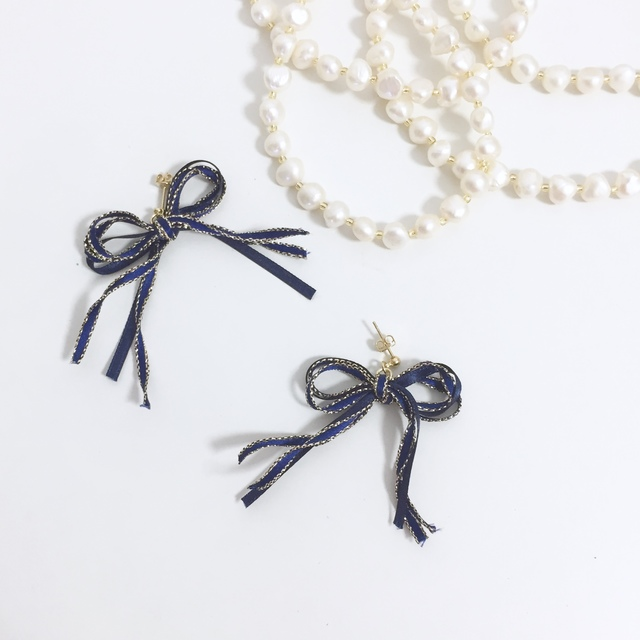 ribbon pierce/earring?navy