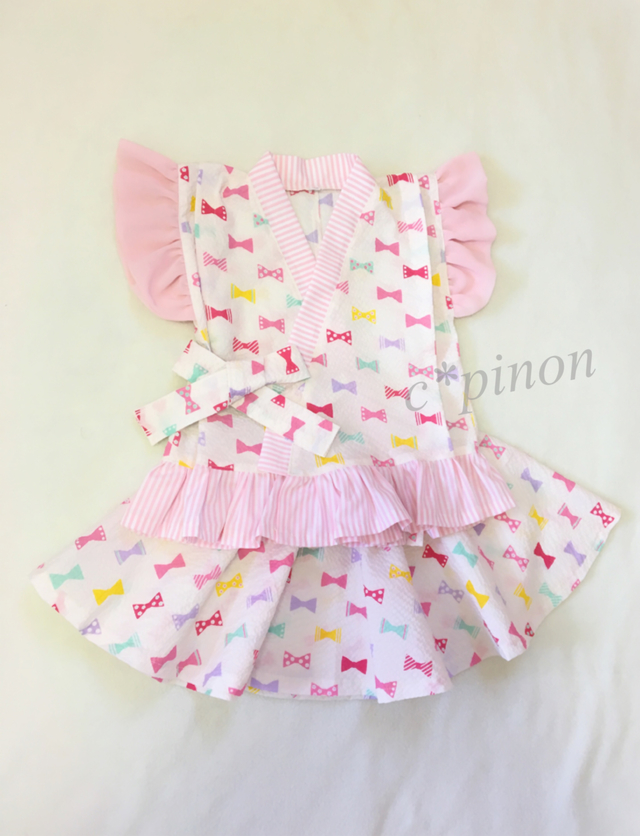 7a837ddf46c4e カラフル リボン柄ピンク ふりふり甚平ドレス  スカートじんべい フリル甚平 女の子