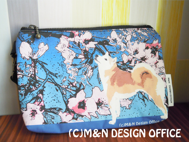 M&Nオリジナル/柴犬と桜のイラストポーチ