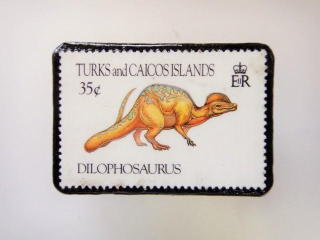 恐竜切手ブローチ 2728