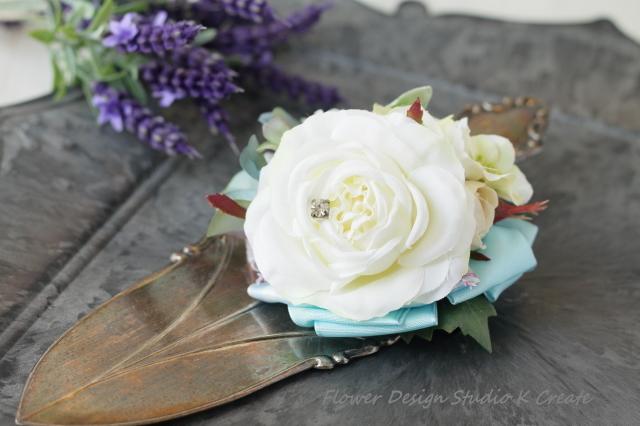 ウェディングに?白い薔薇と紫陽花のヘアクリップ