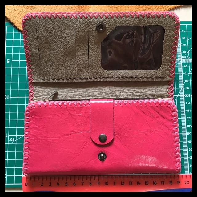 45fdc9ef560b ハッピーピンクレザー ウォレット 革職人の手作り財布屋 本革手縫いバッグ ポーチ 長