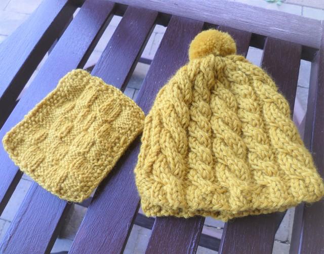 縄編みのティーコゼー(カラシ)Sサイズ