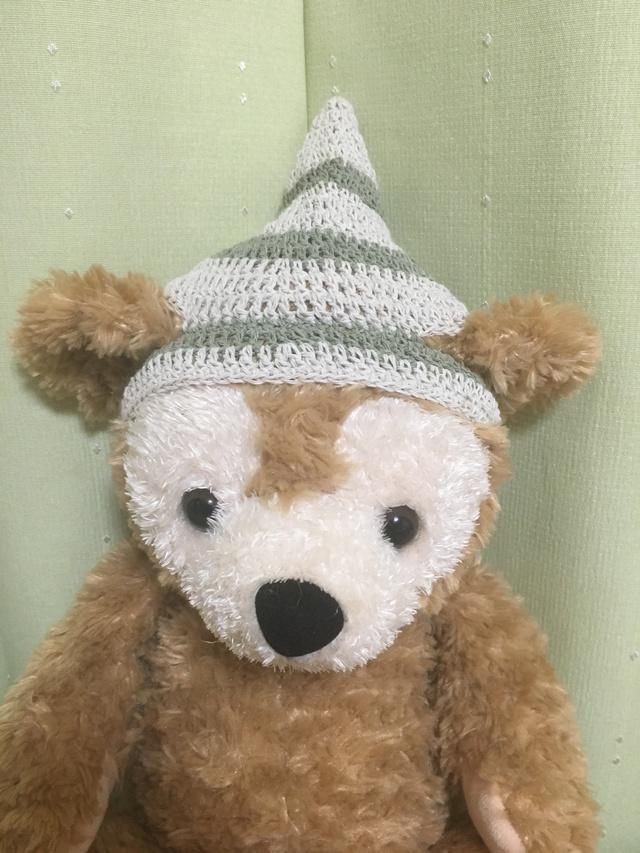 ダッフィ*とんがり帽子*白&緑