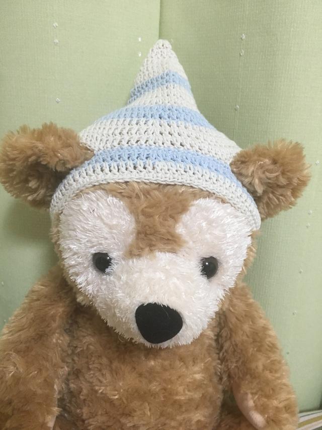 ダッフィ*とんがり帽子*白&水色コットン
