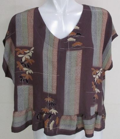送料無料 正絹の着物で作ったプルオー...