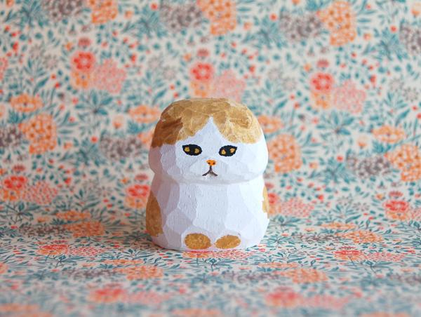 木彫り人形ネコ スコティッシュ1 白×...