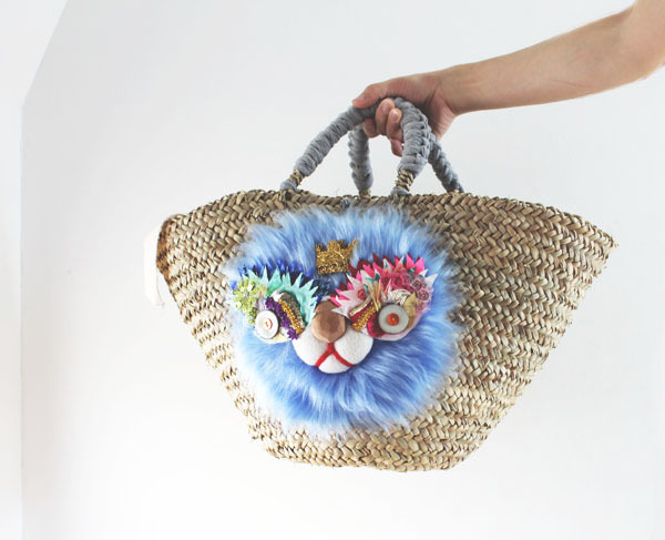 lion kago bag/blue
