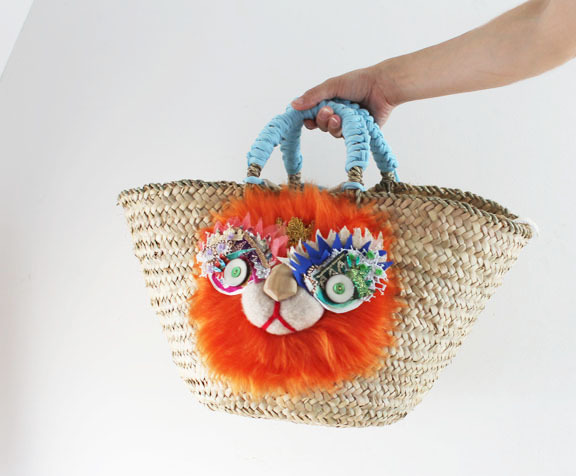 lion kago bag/orange