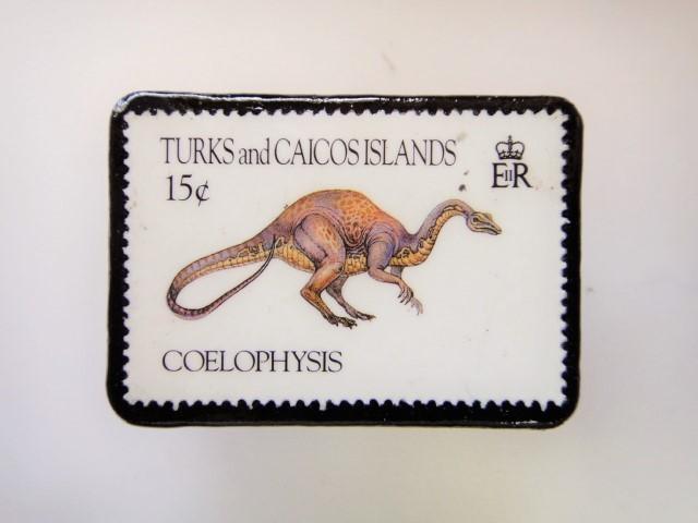 恐竜切手ブローチ 2730