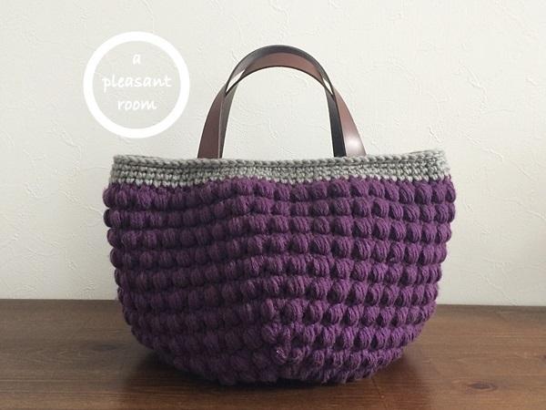 【sale!!!】玉編みニットバッグ (L size) ☆ purple*grey