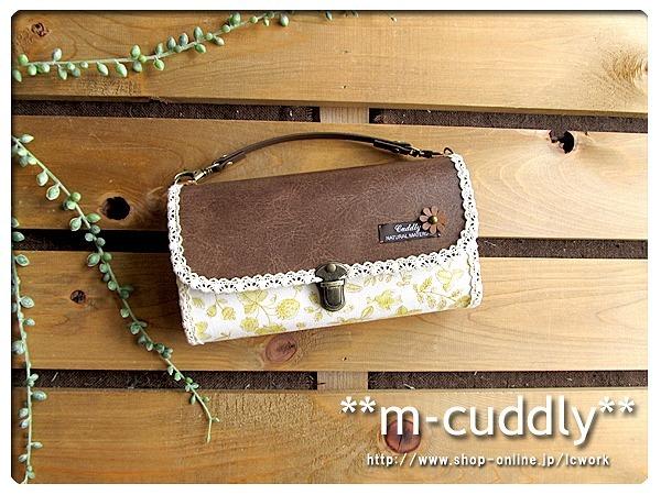 長財布バッグ 小鳥とお花・イチゴ&合皮